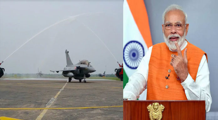 rafale fighter jet, indian air force, water salute, india